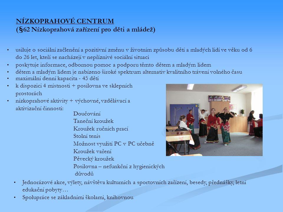 dětem a mladým lidem je nabízeno široké spektrum alternativ kvalitního trávení volného času maximální denní kapacita - 45 dětí k dispozici 4 místnosti + posilovna ve sklepních prostorách nízkoprahové aktivity + výchovné, vzdělávací a aktivizační činnosti: Doučování Taneční kroužek Kroužek ručních prací Stolní tenis Možnost využití PC v PC učebně Kroužek vaření Pěvecký kroužek Posilovna – nefunkční z hygienických důvodů Jednorázové akce, výlety, návštěva kulturních a sportovních zařízení, besedy, přednášky, letní edukační pobyty… Spolupráce se základními školami, knihovnou usiluje o sociální začlenění a pozitivní změnu v životním způsobu dětí a mladých lidí ve věku od 6 do 26 let, kteří se nacházejí v nepříznivé sociální situaci poskytuje informace, odbornou pomoc a podporu těmto dětem a mladým lidem NÍZKOPRAHOVÉ CENTRUM (§62 Nízkoprahová zařízení pro děti a mládež)