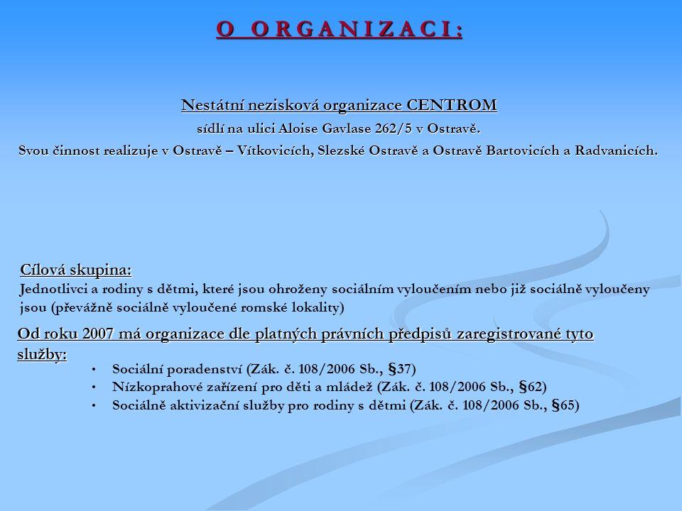 O O R G A N I Z A C I : Nestátní nezisková organizace CENTROM sídlí na ulici Aloise Gavlase 262/5 v Ostravě.
