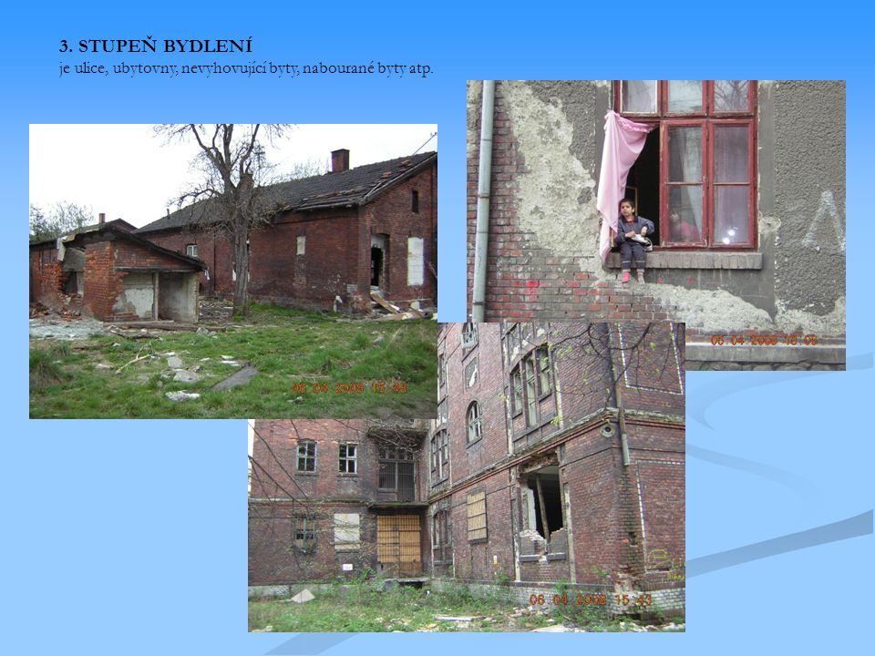 3. STUPEŇ BYDLENÍ je ulice, ubytovny, nevyhovující byty, nabourané byty atp.