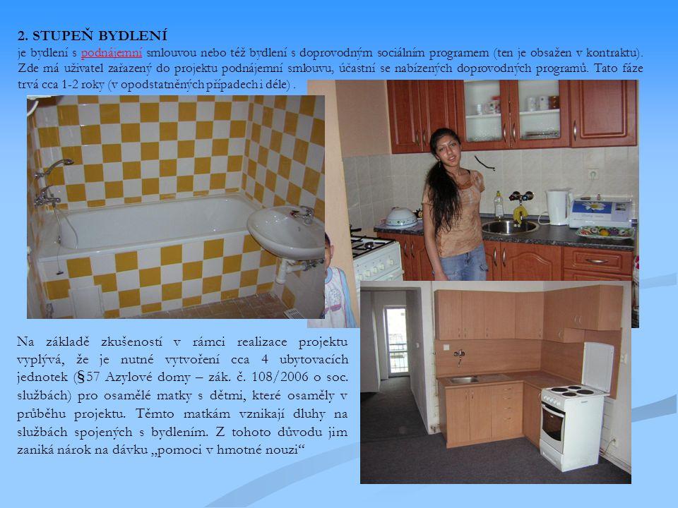 2. STUPEŇ BYDLENÍ je bydlení s podnájemní smlouvou nebo též bydlení s doprovodným sociálním programem (ten je obsažen v kontraktu). Zde má uživatel za