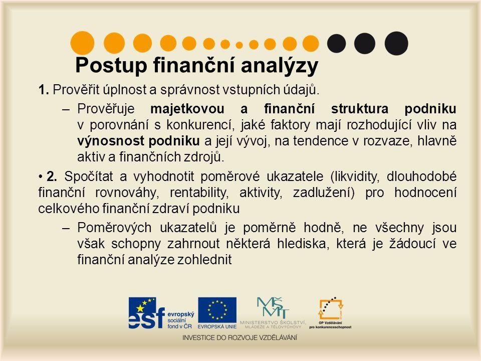 Postup finanční analýzy 1. Prověřit úplnost a správnost vstupních údajů.