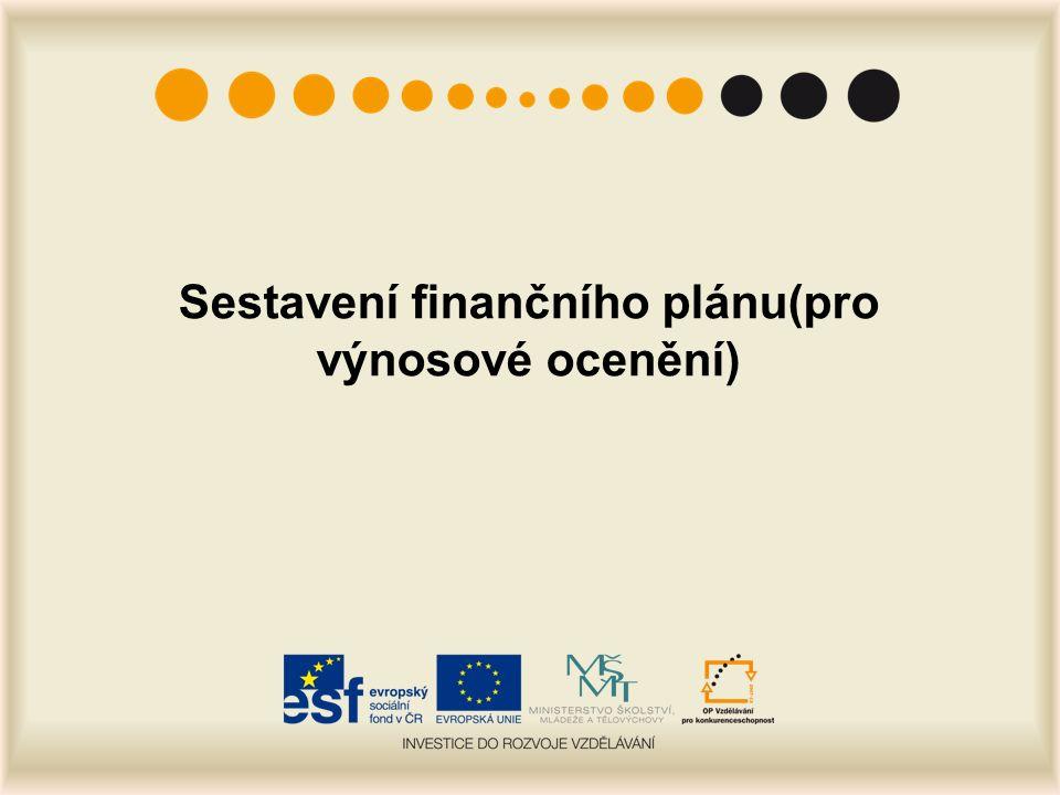Sestavení finančního plánu(pro výnosové ocenění)