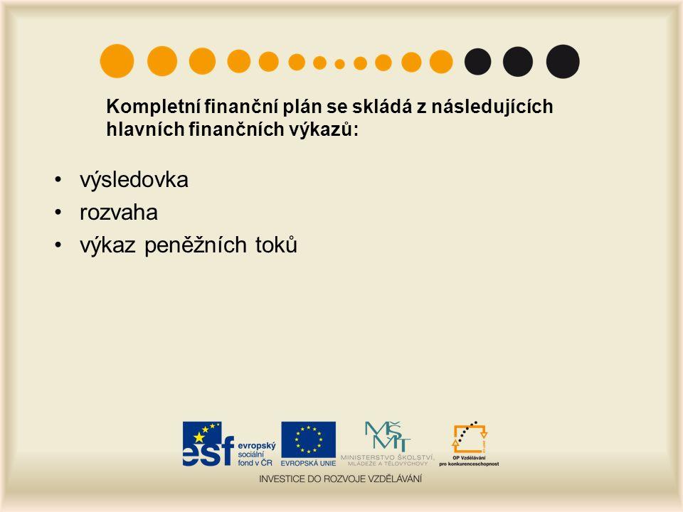 Kompletní finanční plán se skládá z následujících hlavních finančních výkazů: výsledovka rozvaha výkaz peněžních toků