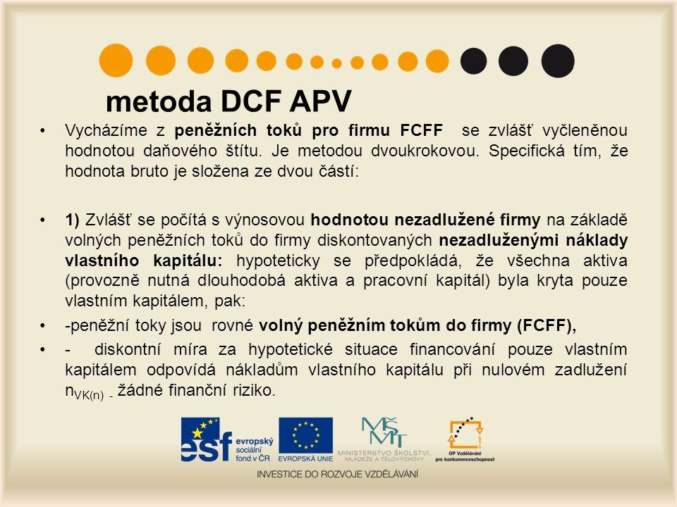 metoda DCF APV Vycházíme z peněžních toků pro firmu FCFF se zvlášť vyčleněnou hodnotou daňového štítu.