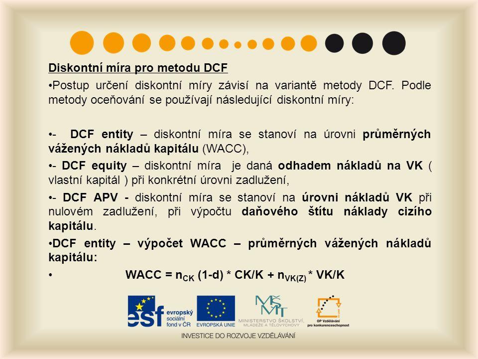 Diskontní míra pro metodu DCF Postup určení diskontní míry závisí na variantě metody DCF.