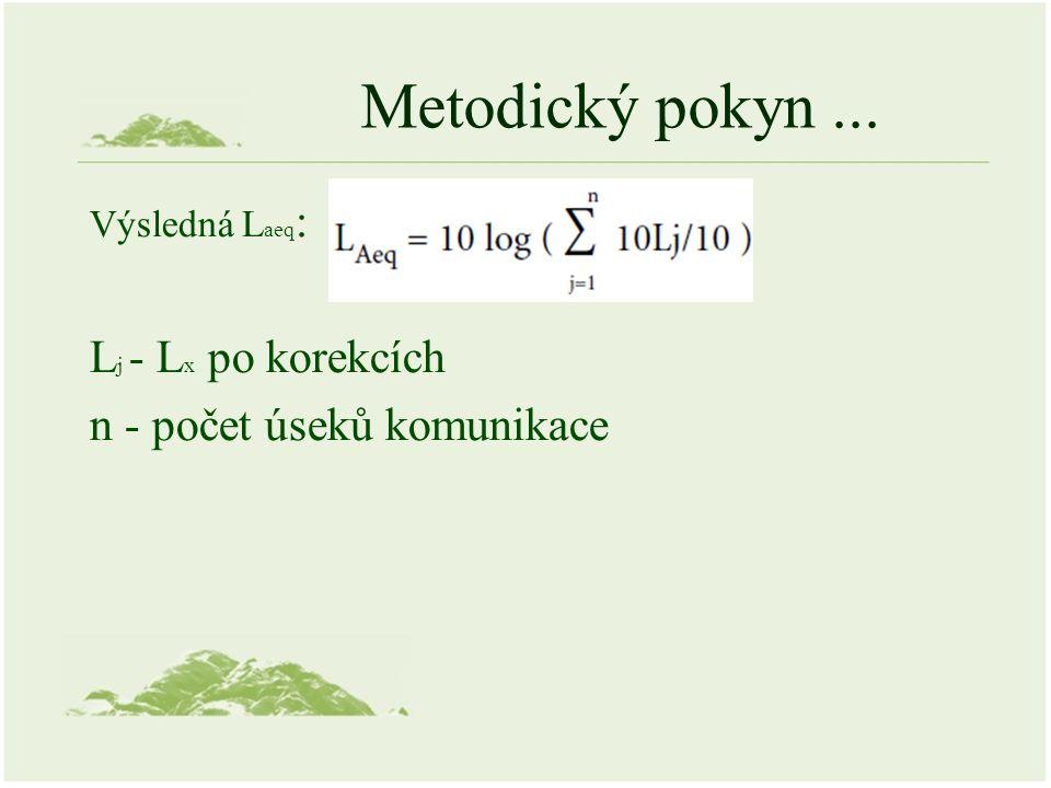 Metodický pokyn... Výsledná L aeq : L j - L x po korekcích n - počet úseků komunikace