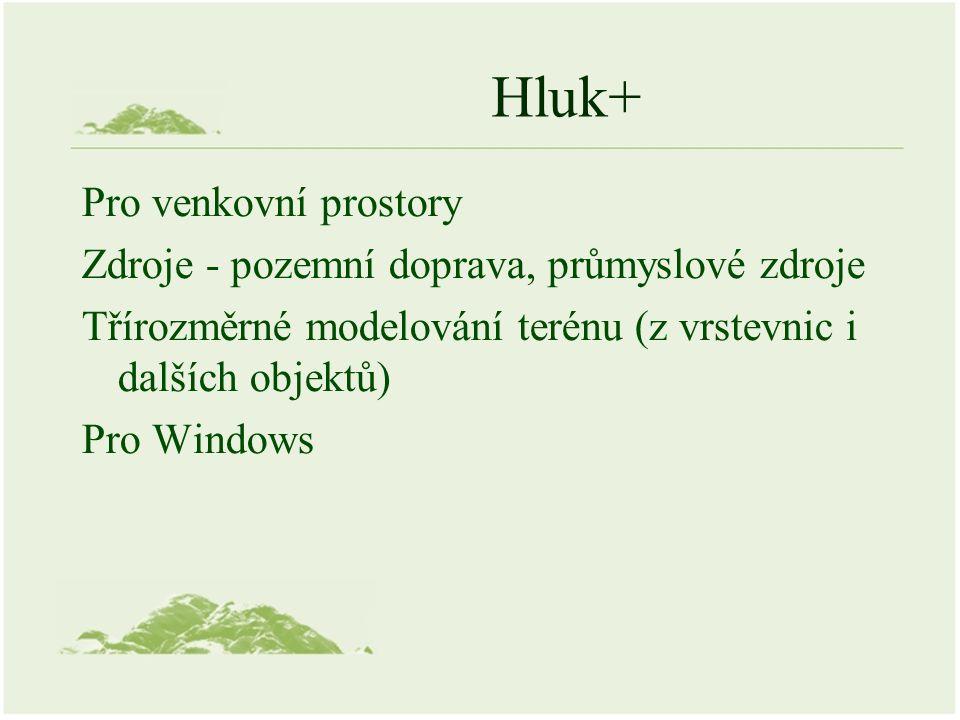 Hluk+ Pro venkovní prostory Zdroje - pozemní doprava, průmyslové zdroje Třírozměrné modelování terénu (z vrstevnic i dalších objektů) Pro Windows