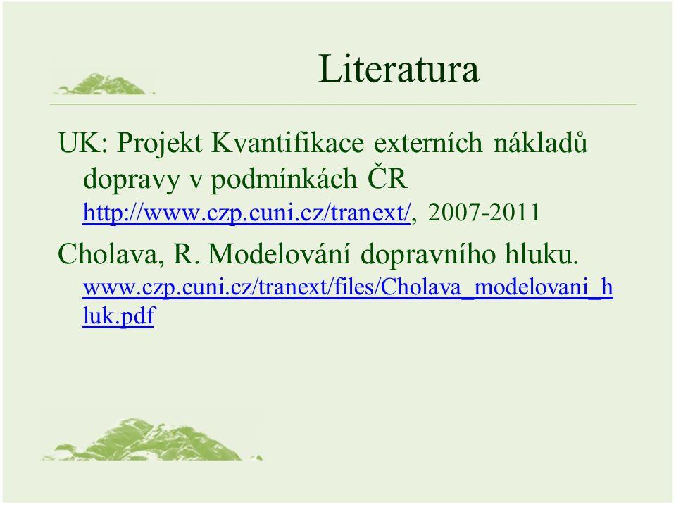 Literatura UK: Projekt Kvantifikace externích nákladů dopravy v podmínkách ČR http://www.czp.cuni.cz/tranext/, 2007-2011 http://www.czp.cuni.cz/tranext/ Cholava, R.