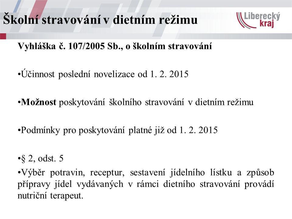 Vyhláška č. 107/2005 Sb., o školním stravování Účinnost poslední novelizace od 1.