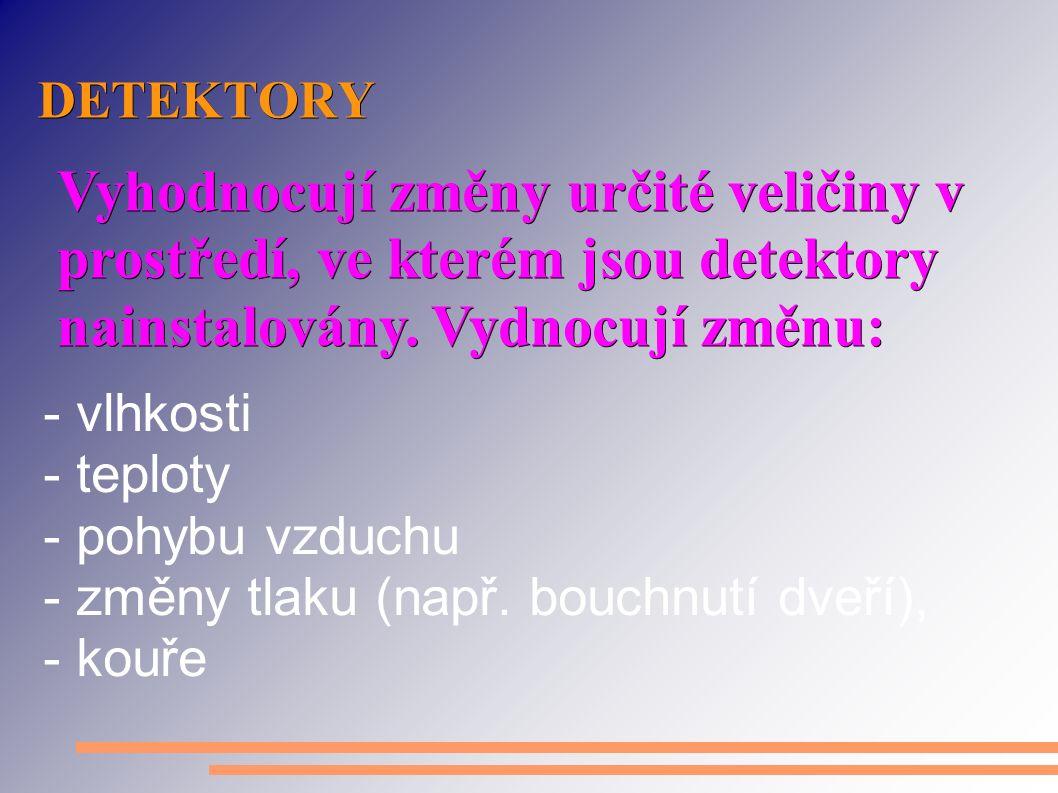 DETEKTORY (PODLE SNÍMANÉ VELIČINY) - akustický - magnetický kontakt - optický (kouř) - ionizační (hoření) - hořlavých plynů - mikrovlnný - teplotní (PIR) - zaplavení /www.siemens.cz