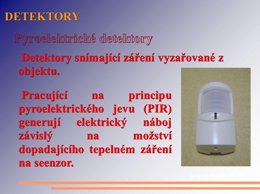 DETEKTORY Detektory snímající záření vyzařované z objektu.