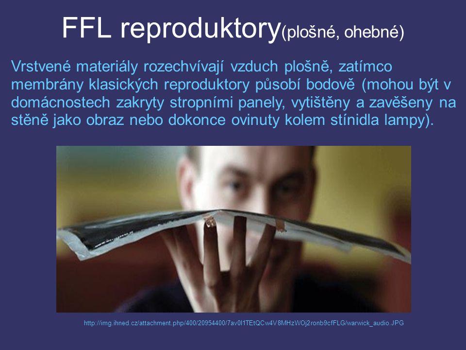 FFL reproduktory (plošné, ohebné) http://img.ihned.cz/attachment.php/400/20954400/7av0I1TEtQCw4V8MHzWOj2ronb9cfFLG/warwick_audio.JPG Vrstvené materiály rozechvívají vzduch plošně, zatímco membrány klasických reproduktory působí bodově (mohou být v domácnostech zakryty stropními panely, vytištěny a zavěšeny na stěně jako obraz nebo dokonce ovinuty kolem stínidla lampy).
