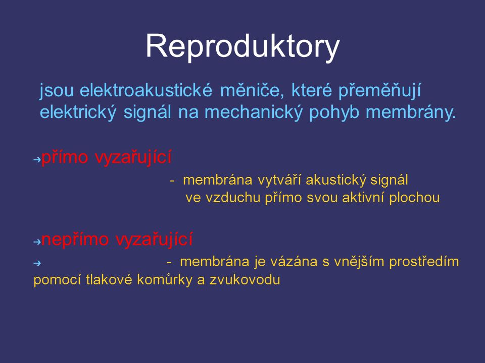 Reproduktory jsou elektroakustické měniče, které přeměňují elektrický signál na mechanický pohyb membrány.