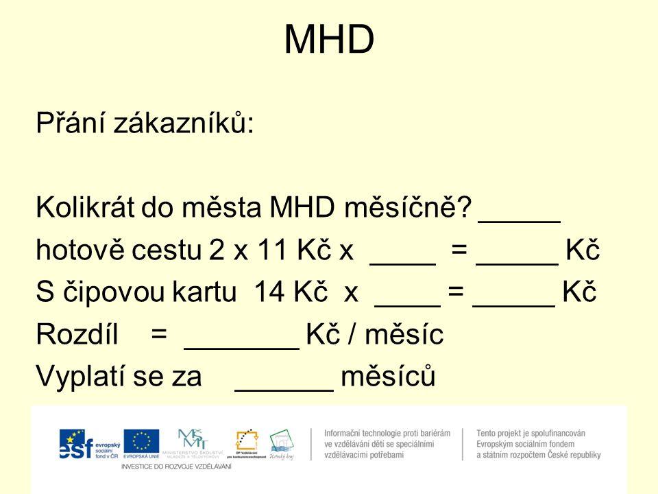 MHD Přání zákazníků: Kolikrát do města MHD měsíčně.