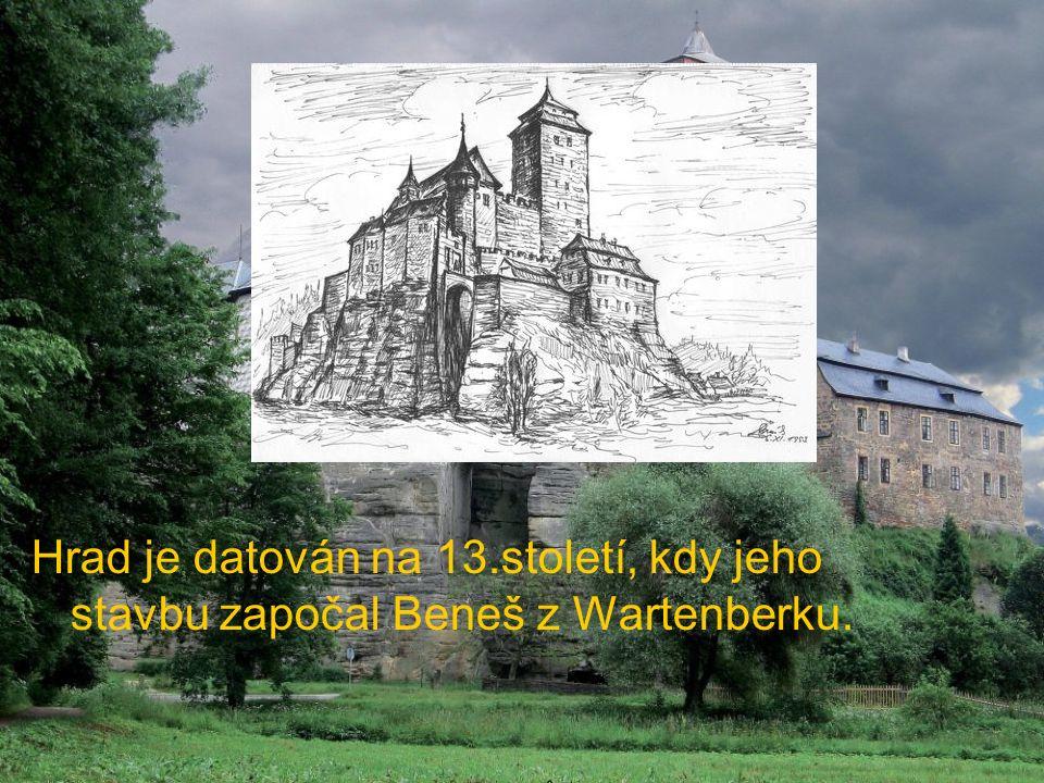Hrad je datován na 13.století, kdy jeho stavbu započal Beneš z Wartenberku.