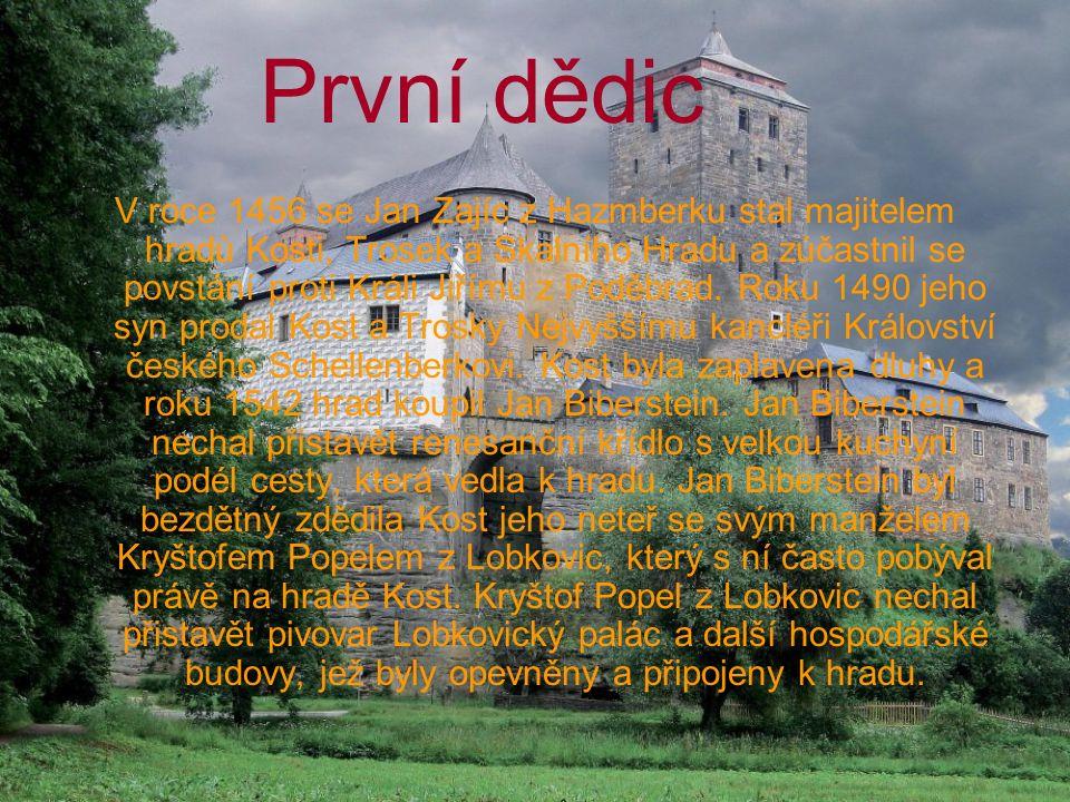 První dědic V roce 1456 se Jan Zajíc z Hazmberku stal majitelem hradů Kosti, Trosek a Skalního Hradu a zúčastnil se povstání proti Králi Jiřímu z Podě