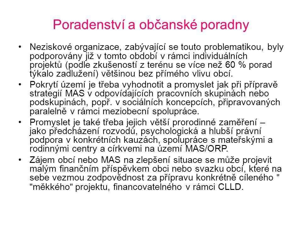 Poradenství a občanské poradny Neziskové organizace, zabývající se touto problematikou, byly podporovány již v tomto období v rámci individuálních pro