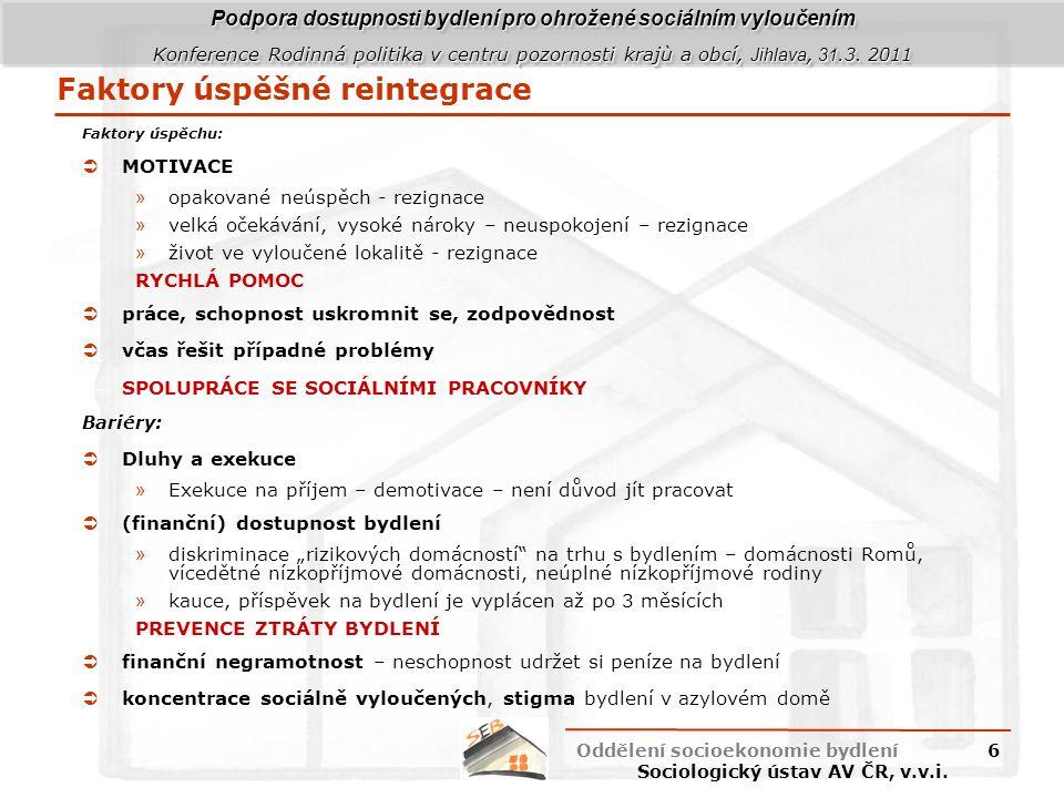 Podpora dostupnosti bydlení pro ohrožené sociálním vyloučením Konference Rodinná politika v centru pozornosti krajù a obcí, Jihlava, 31.3.