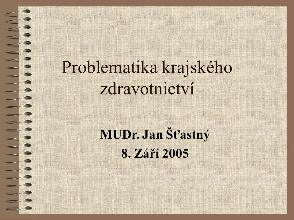 Problematika krajského zdravotnictví MUDr. Jan Šťastný 8. Září 2005