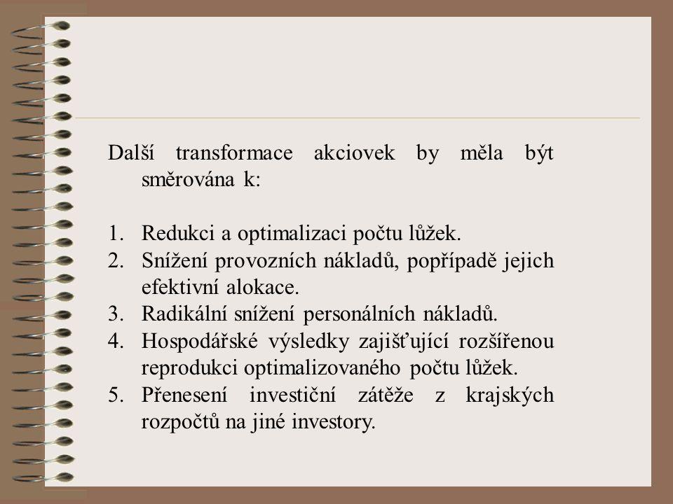 Další transformace akciovek by měla být směrována k: 1.Redukci a optimalizaci počtu lůžek.
