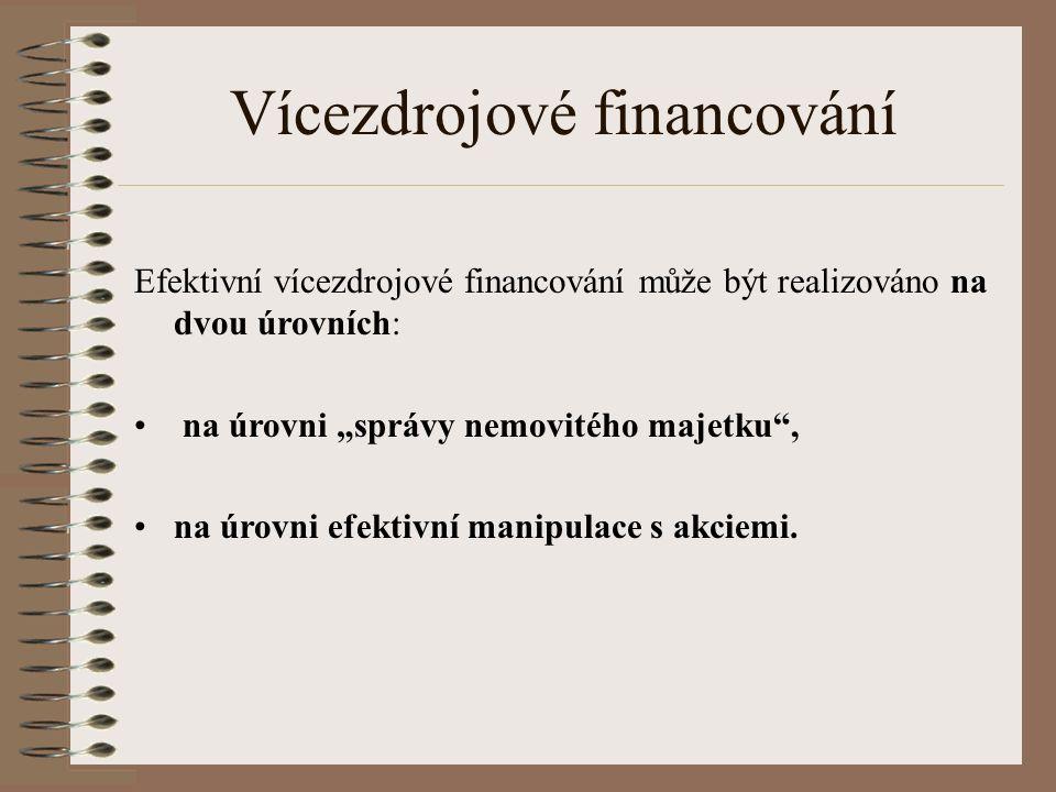 """Vícezdrojové financování Efektivní vícezdrojové financování může být realizováno na dvou úrovních: na úrovni """"správy nemovitého majetku , na úrovni efektivní manipulace s akciemi."""