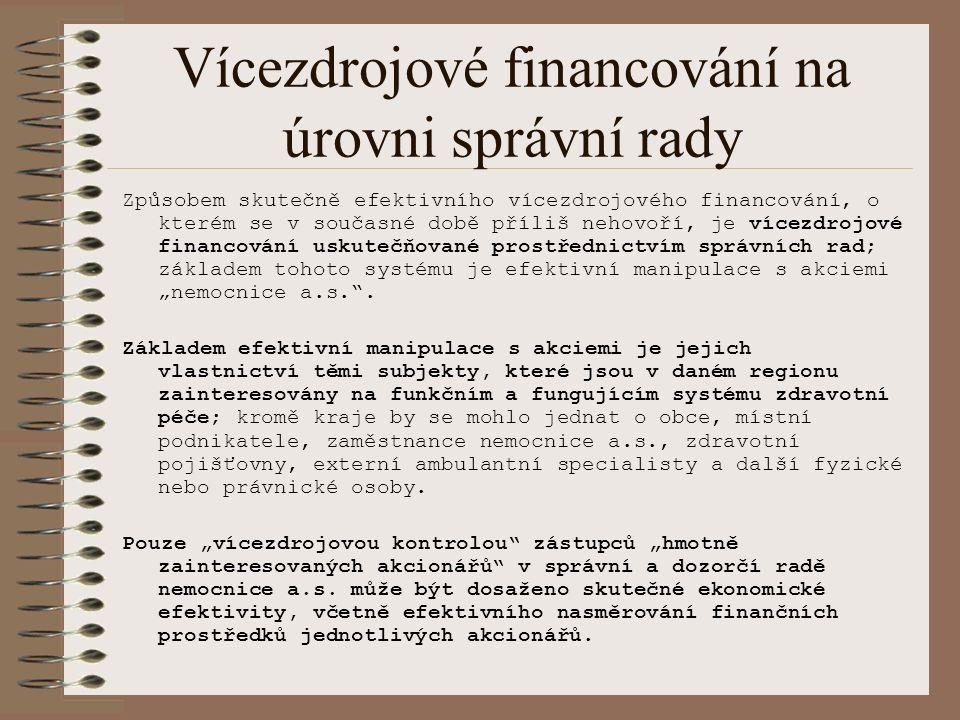 """Vícezdrojové financování na úrovni správní rady Způsobem skutečně efektivního vícezdrojového financování, o kterém se v současné době příliš nehovoří, je vícezdrojové financování uskutečňované prostřednictvím správních rad; základem tohoto systému je efektivní manipulace s akciemi """"nemocnice a.s. ."""