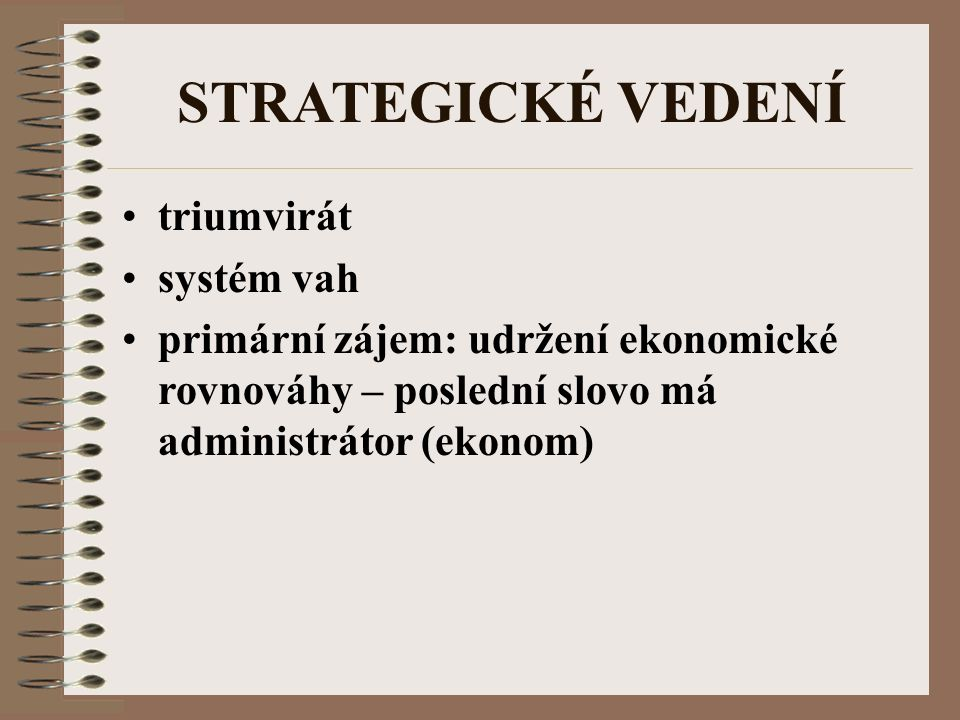STRATEGICKÉ VEDENÍ triumvirát systém vah primární zájem: udržení ekonomické rovnováhy – poslední slovo má administrátor (ekonom)