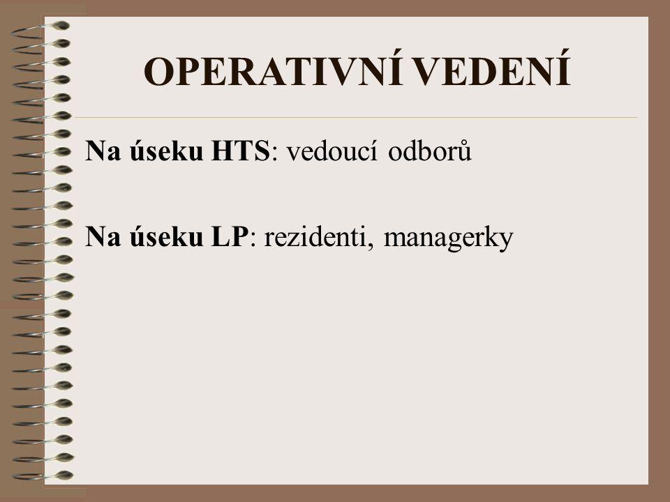 OPERATIVNÍ VEDENÍ Na úseku HTS: vedoucí odborů Na úseku LP: rezidenti, managerky