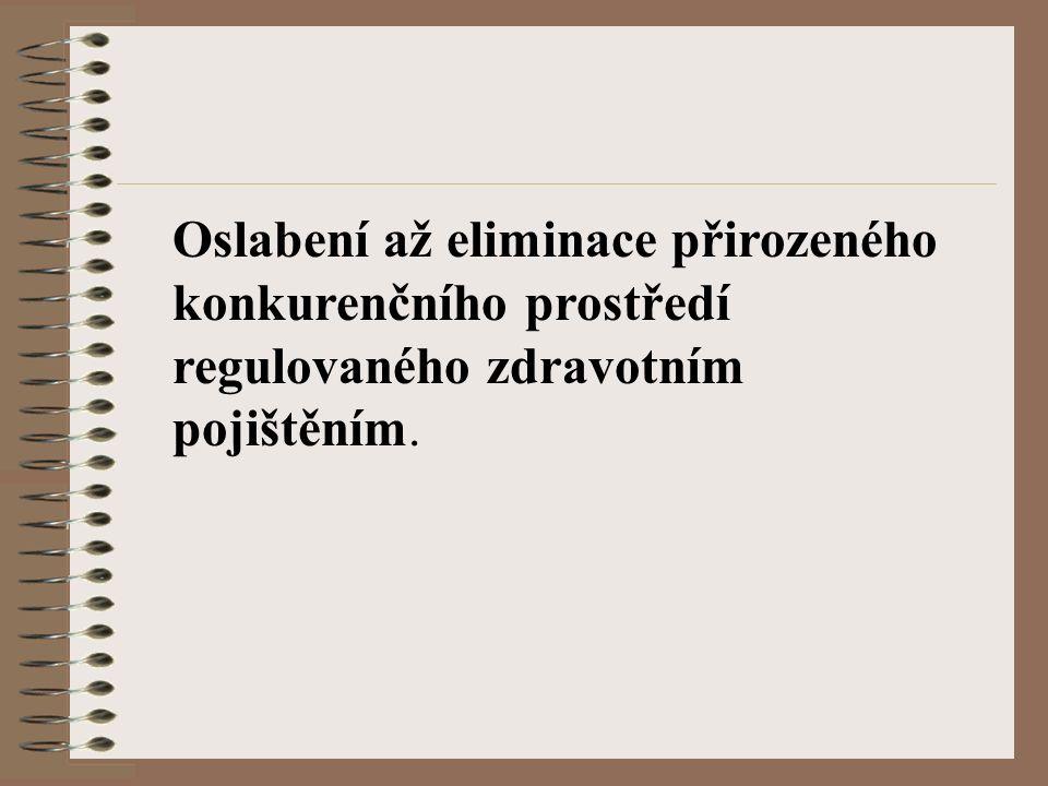 Oslabení až eliminace přirozeného konkurenčního prostředí regulovaného zdravotním pojištěním.