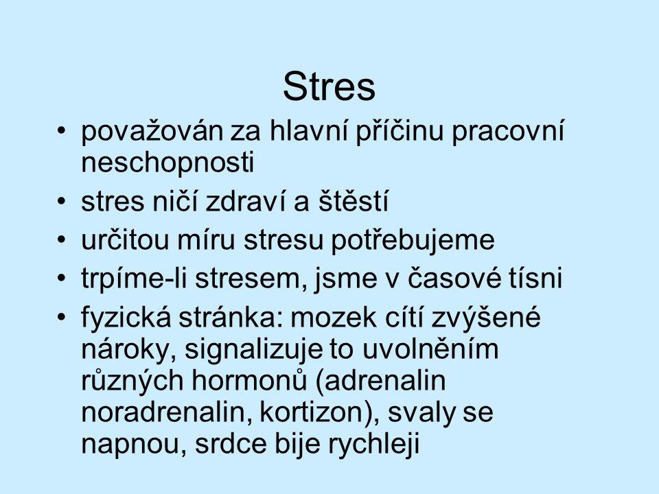 Stres považován za hlavní příčinu pracovní neschopnosti stres ničí zdraví a štěstí určitou míru stresu potřebujeme trpíme-li stresem, jsme v časové tísni fyzická stránka: mozek cítí zvýšené nároky, signalizuje to uvolněním různých hormonů (adrenalin noradrenalin, kortizon), svaly se napnou, srdce bije rychleji