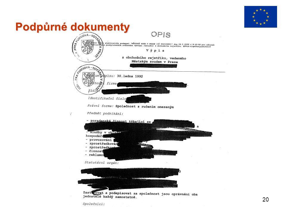 20 Podpůrné dokumenty