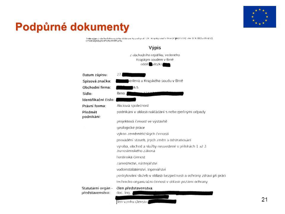 21 Podpůrné dokumenty