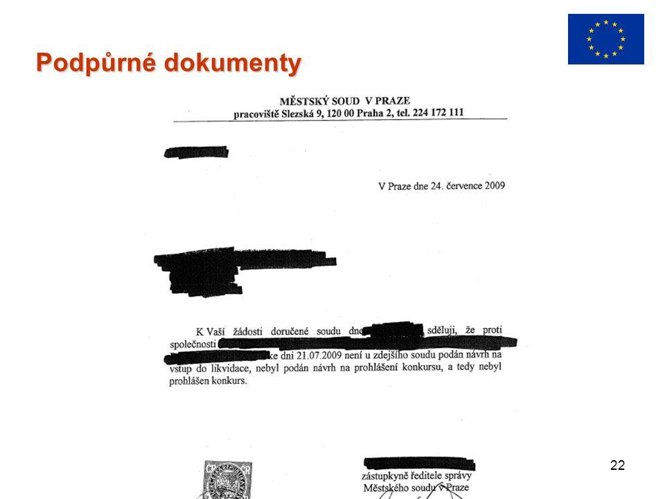 22 Podpůrné dokumenty