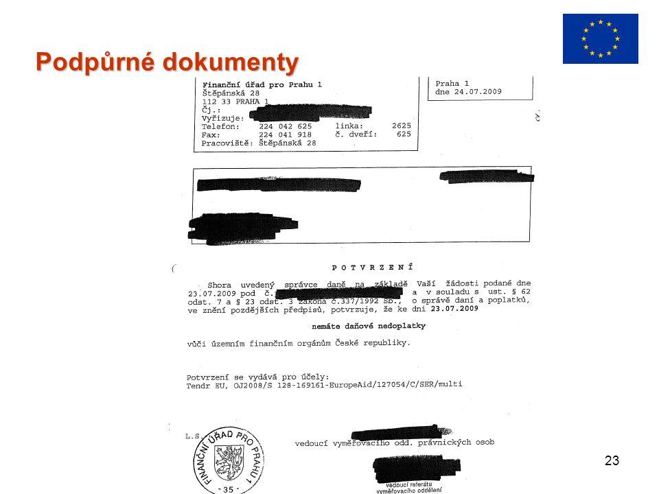 23 Podpůrné dokumenty