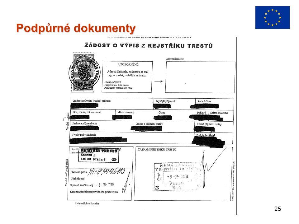 25 Podpůrné dokumenty