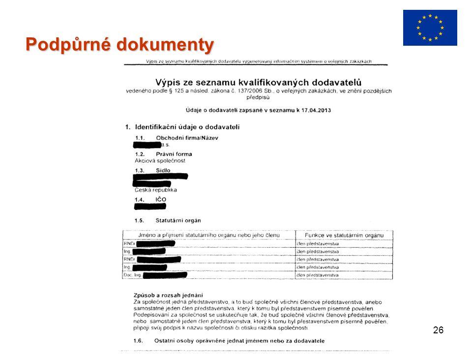 26 Podpůrné dokumenty