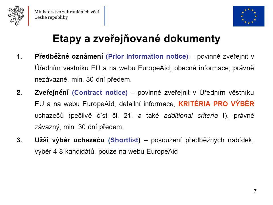 7 Etapy a zveřejňované dokumenty 1.Předběžné oznámení (Prior information notice) – povinné zveřejnit v Úředním věstníku EU a na webu EuropeAid, obecné informace, právně nezávazné, min.