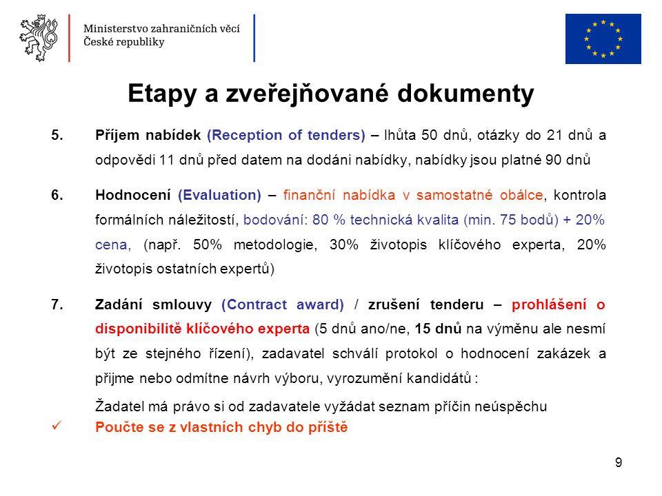 9 Etapy a zveřejňované dokumenty 5.Příjem nabídek (Reception of tenders) – lhůta 50 dnů, otázky do 21 dnů a odpovědi 11 dnů před datem na dodáni nabídky, nabídky jsou platné 90 dnů 6.Hodnocení (Evaluation) – finanční nabídka v samostatné obálce, kontrola formálních náležitostí, bodování: 80 % technická kvalita (min.