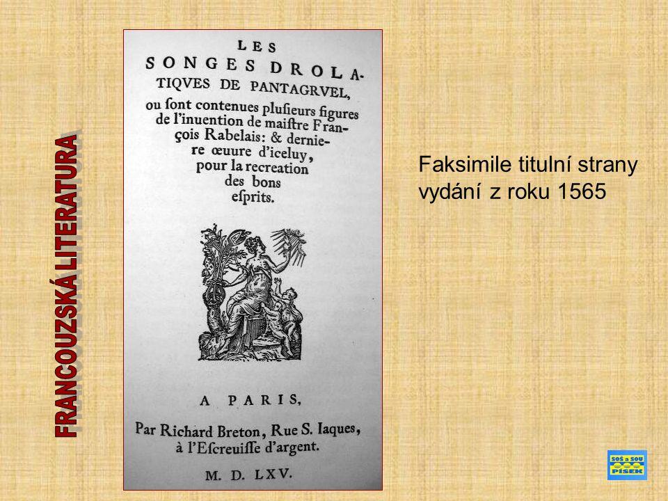 Faksimile titulní strany vydání z roku 1565