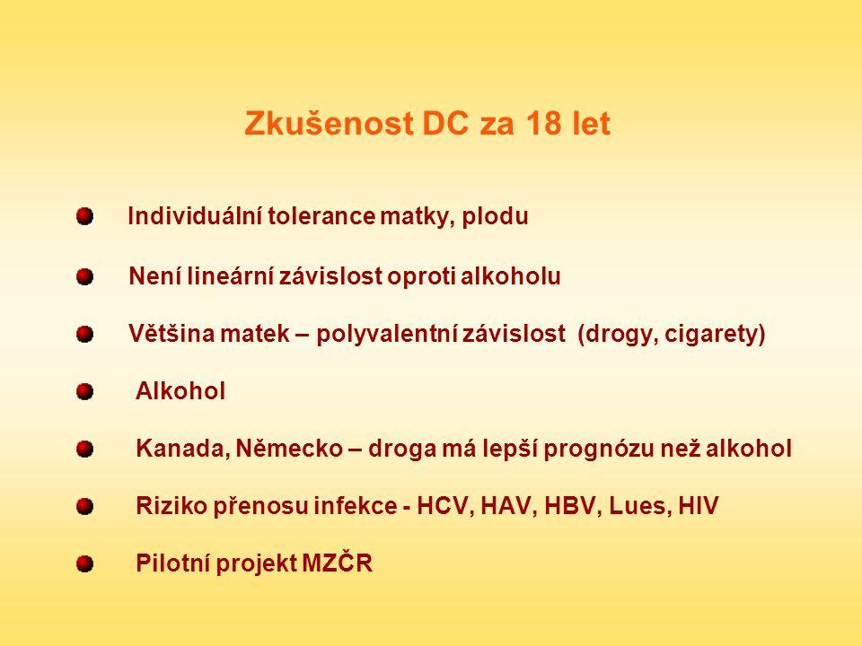 Zkušenost DC za 18 let Individuální tolerance matky, plodu Není lineární závislost oproti alkoholu Většina matek – polyvalentní závislost (drogy, ciga