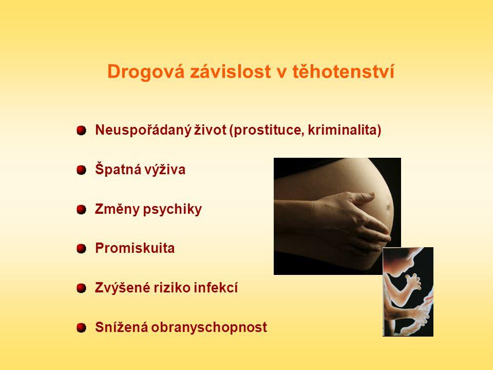 Drogová závislost v těhotenství Neuspořádaný život (prostituce, kriminalita) Špatná výživa Změny psychiky Promiskuita Zvýšené riziko infekcí Snížená o