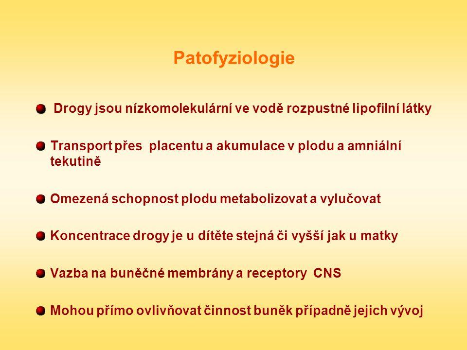Patofyziologie Drogy jsou nízkomolekulární ve vodě rozpustné lipofilní látky Transport přes placentu a akumulace v plodu a amniální tekutině Omezená s