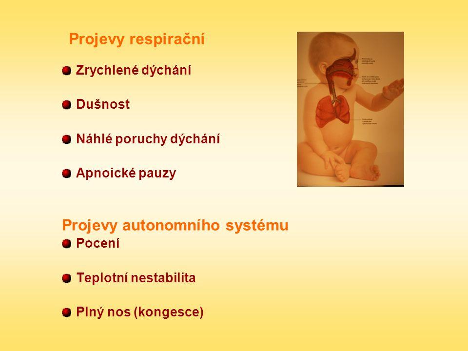 Projevy respirační Zrychlené dýchání Dušnost Náhlé poruchy dýchání Apnoické pauzy Projevy autonomního systému Pocení Teplotní nestabilita Plný nos (ko