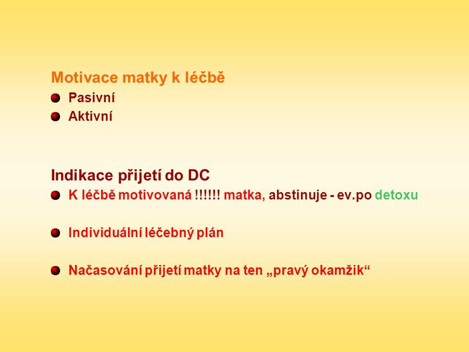 Motivace matky k léčbě Pasivní Aktivní Indikace přijetí do DC K léčbě motivovaná !!!!!! matka, abstinuje - ev.po detoxu Individuální léčebný plán Nača