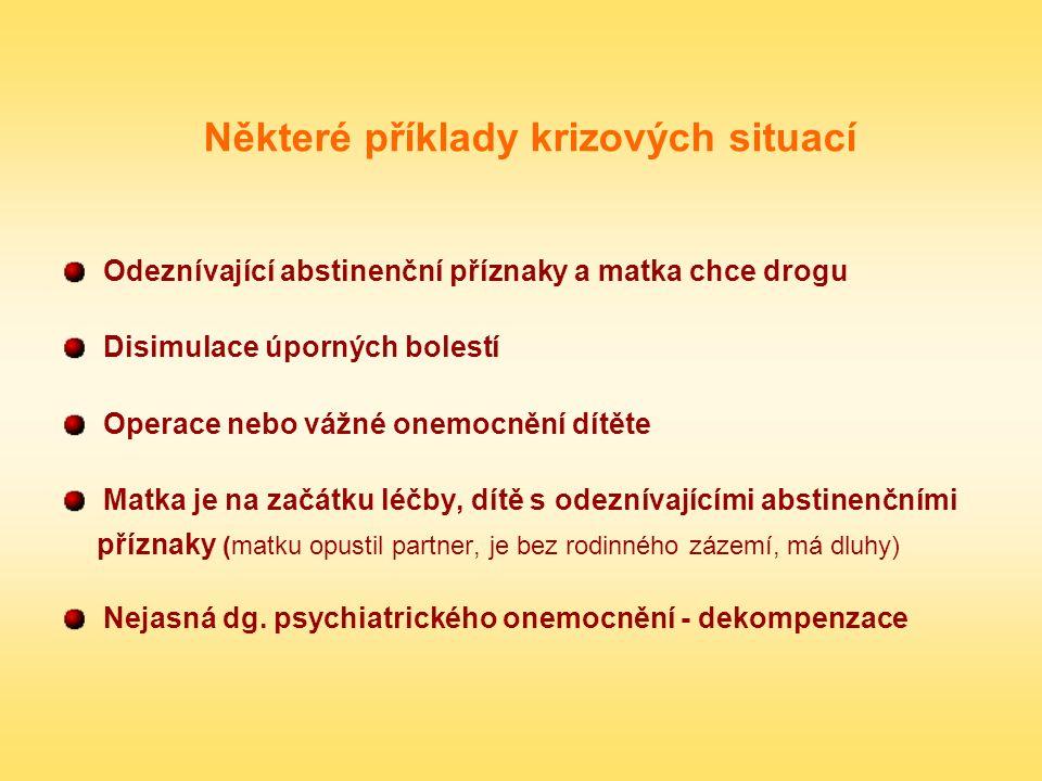 Některé příklady krizových situací Odeznívající abstinenční příznaky a matka chce drogu Disimulace úporných bolestí Operace nebo vážné onemocnění dítě