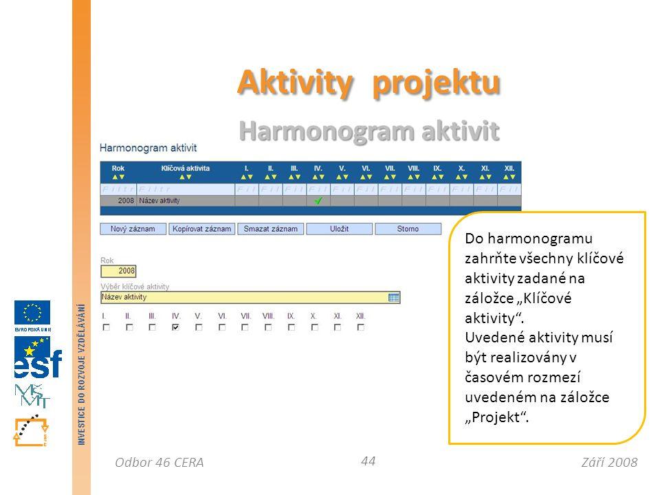 """Září 2008Odbor 46 CERA INVESTICE DO ROZVOJE VZDĚLÁVÁNÍ Aktivity projektu Harmonogram aktivit 44 Do harmonogramu zahrňte všechny klíčové aktivity zadané na záložce """"Klíčové aktivity ."""