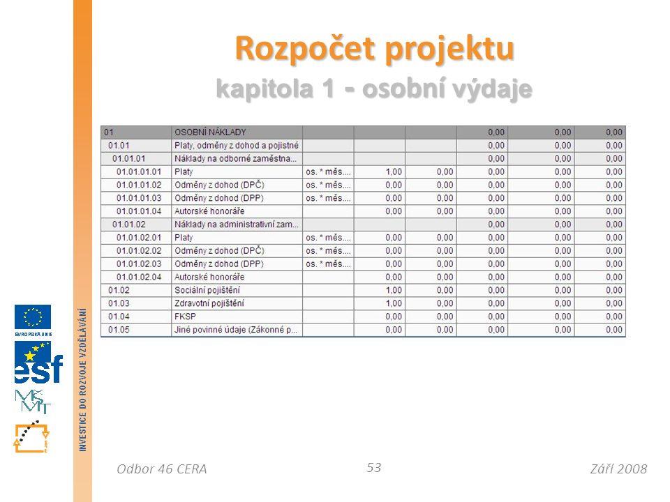 Září 2008Odbor 46 CERA INVESTICE DO ROZVOJE VZDĚLÁVÁNÍ Rozpočet projektu kapitola 1 - o sobní výdaje 53