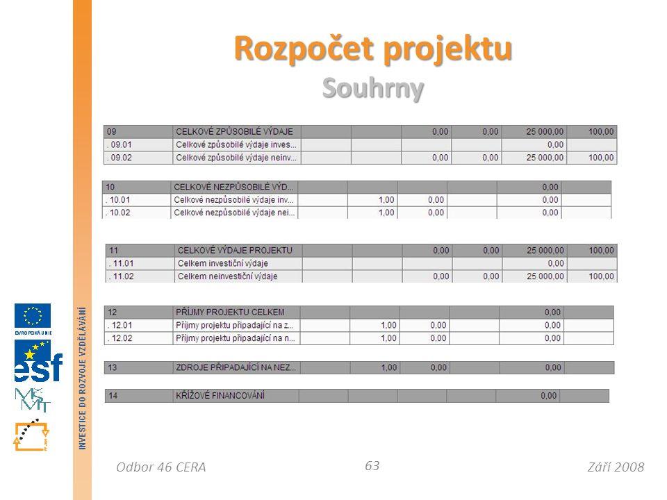 Září 2008Odbor 46 CERA INVESTICE DO ROZVOJE VZDĚLÁVÁNÍ Rozpočet projektu Souhrny 63