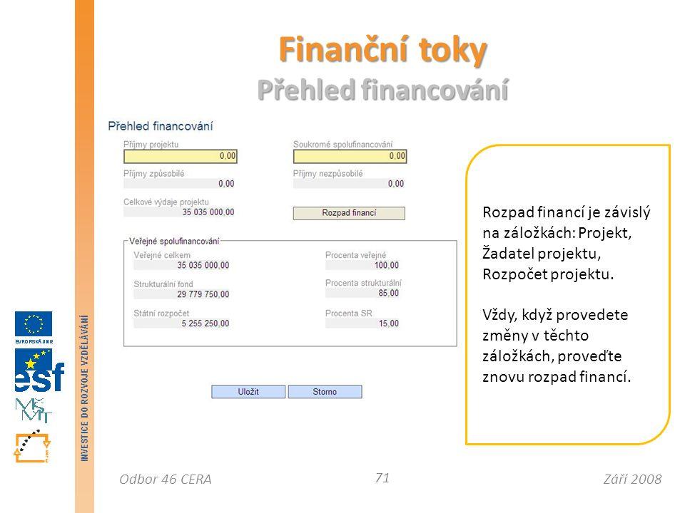 Září 2008Odbor 46 CERA INVESTICE DO ROZVOJE VZDĚLÁVÁNÍ Finanční toky Přehled financování 71 Rozpad financí je závislý na záložkách: Projekt, Žadatel projektu, Rozpočet projektu.