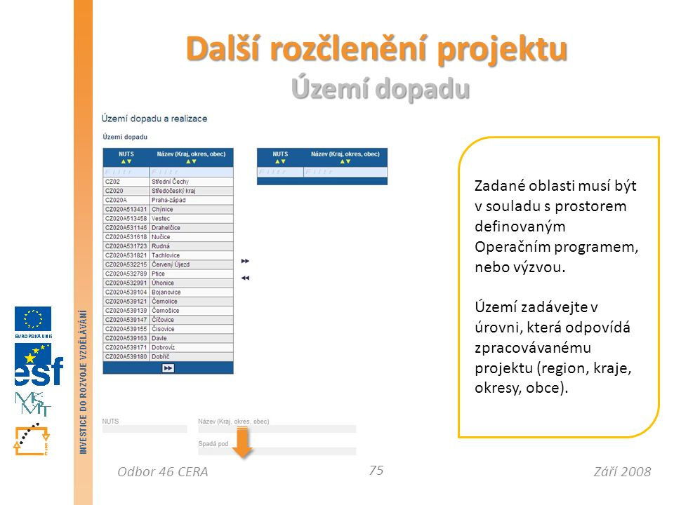 Září 2008Odbor 46 CERA INVESTICE DO ROZVOJE VZDĚLÁVÁNÍ Další rozčlenění projektu Území dopadu 75 Zadané oblasti musí být v souladu s prostorem definovaným Operačním programem, nebo výzvou.